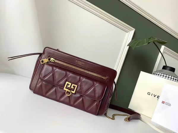 Cheap Givenchy New Pocket Chain Red Wine Shoulder Diagonal Bag