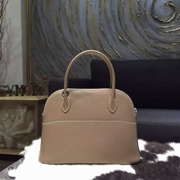 Hermes Bolide 27cm Epsom Calfskin Leather Bag Palladium Hardware Handstitched, Etoupe CK18 RS18286