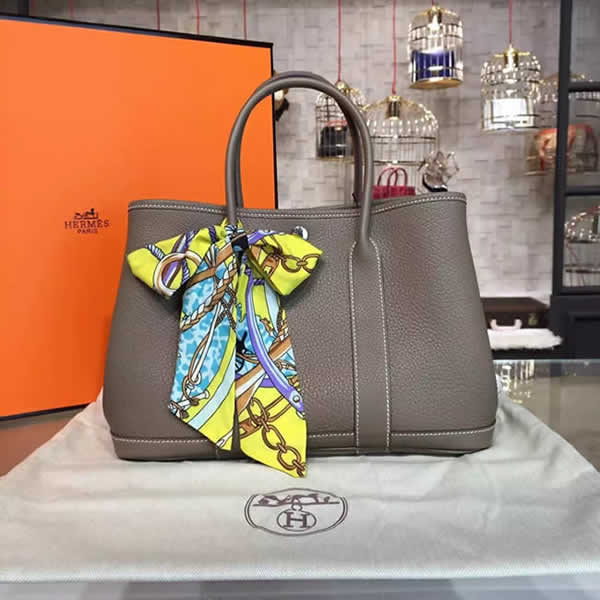 Hermes Garden Party 30cm Togo Calfskin Leather Palladium Hardware High Quality, Etoupe RS17305