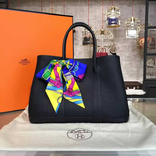 Best Quality Copy Hermes Garden Party 30cm Togo Calfskin Leather Palladium Hardware High Quality, Black RS06397