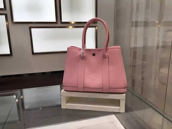 Imitation Luxury Hermes Garden Party TPM Buffalo Leather Palladium Hardware Top Hand Stitching, Pink RS09347