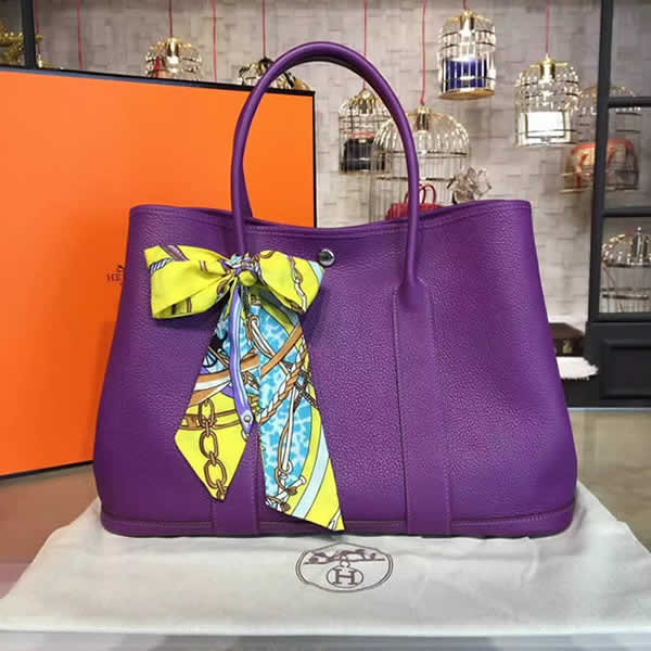 Replica Hermes Garden Party 36cm Togo Calfskin Leather Palladium Hardware High Quality, Ultraviolet RS21907