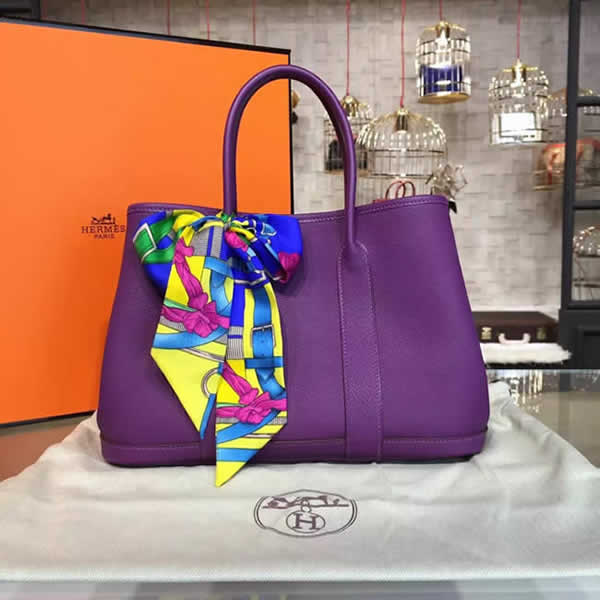 Hermes Garden Party 30cm Togo Calfskin Leather Palladium Hardware High Quality, Ultraviolet RS11968