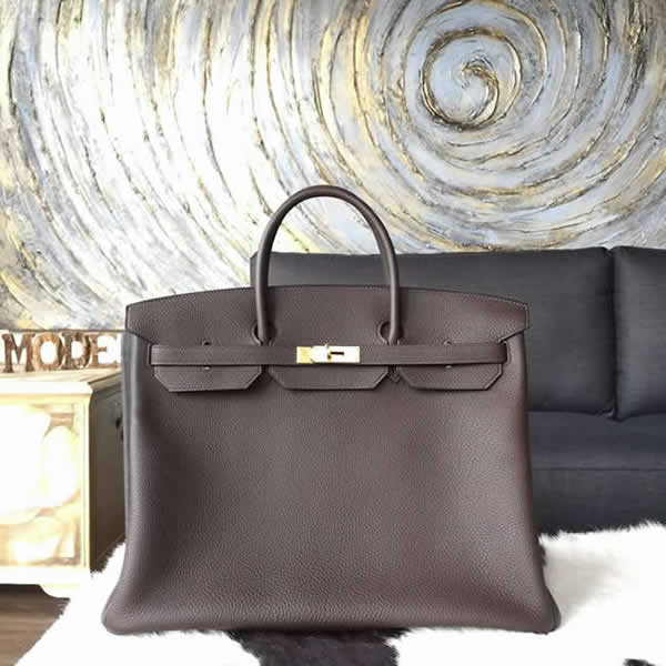 Replica Hermes Horseshoe Birkin 40cm Togo Calfskin Original Leather Bag Handstitched Gold Hardware, Chocolat CK47 RS04370