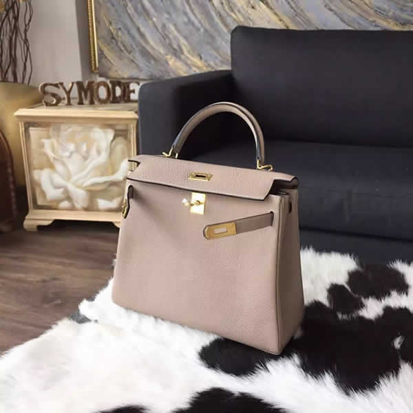 Replica Hermes Kelly 25cm Togo Calfskin Bag Handstitched Gold Hardware, Gris Tourterelle CK81 RS21052