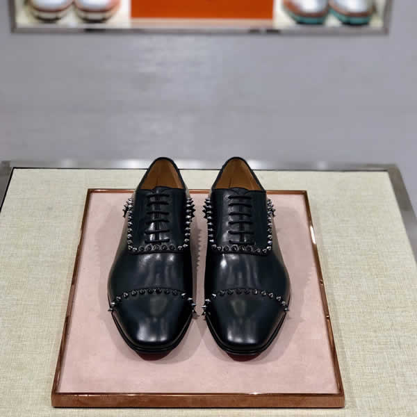 Christian Louboutin Black Rivets Shoes Cow leather Men Oxfords Wedding Formal Business Shoes Luxury expensive