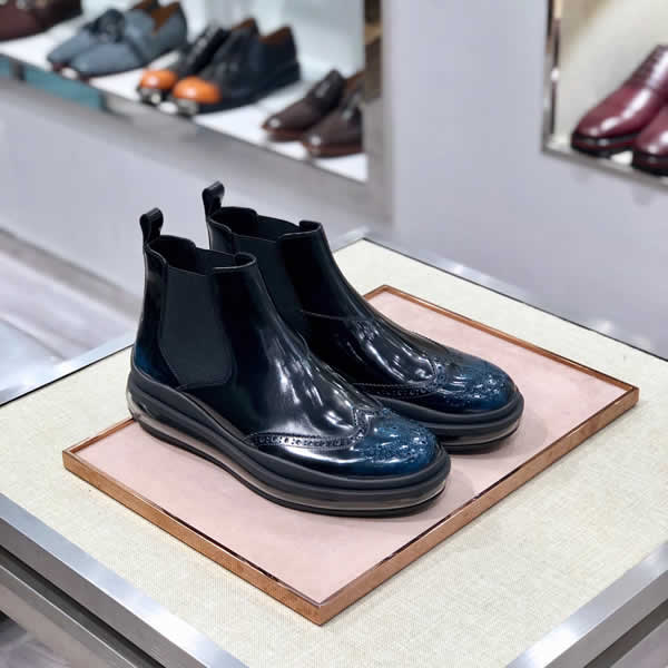 Prada Men Shoes Dress Men Boots Leather Boots Wedding Dress Shoes Formal Men Business Ankle Boots Leather Black
