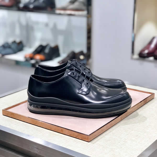 Prada Men Shoes Men's Leather Shoes Men's Shoe British Business Casual Work Shoes Lace-Up Business Shoe
