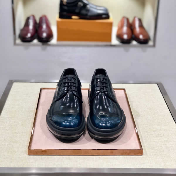 Prada Men Oxfords Formal Men's Leather Shoes Business Man Wedding Brogue Shoes Lace Up Soft Male Footwear Flat
