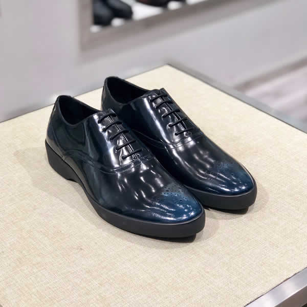 Prada Men Shoes Spring Autumn Male Leather Flats Business Casual Mans Footwear Round Toe Lace Up Shoes