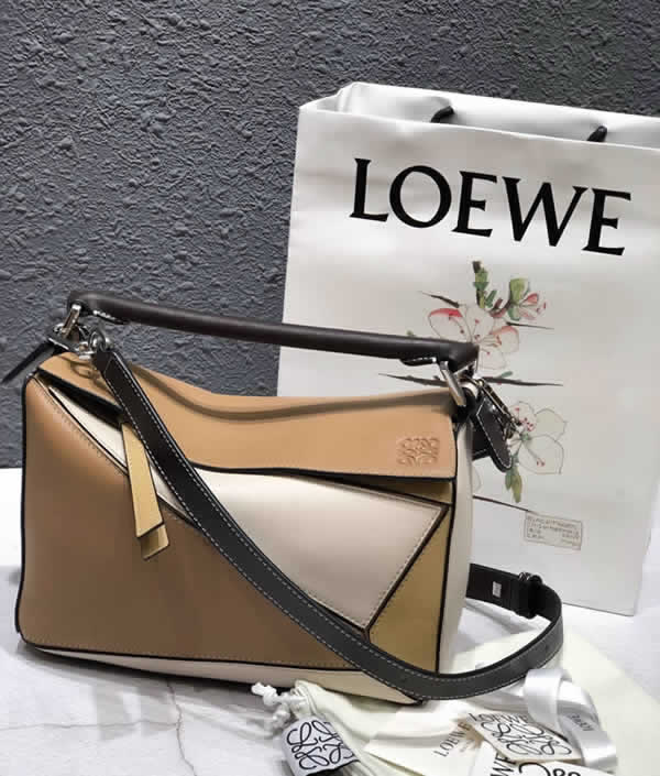 2019 Loewe Puzzle Color Matching Tote Flap Shoulder Bag 061609