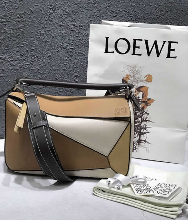 2019 Loewe Puzzle Color Matching Tote Flap Shoulder Bag 061608