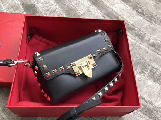 Replica New Valentino Black Flap Bag Crossbody Bag 0045
