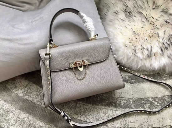 Fake Discount Valentino Gray One Shoulder Clam Crossbody Bag
