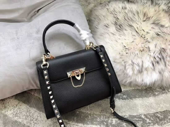 Fake Discount Valentino Black One Shoulder Clam Crossbody Bag