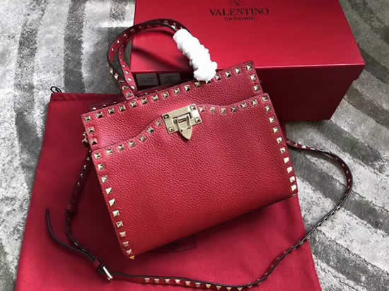 Fake Valentino Garavani Rockstud Red Shoulder Tote Bags 0650