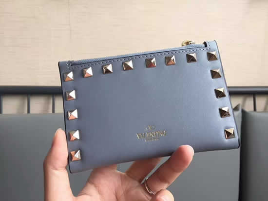 Fake New Valentino Blue Short Wallet Card Holder 605
