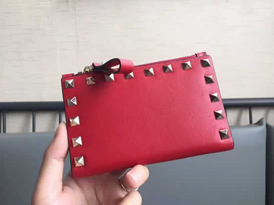 Fake New Valentino Red Short Wallet Card Holder 605