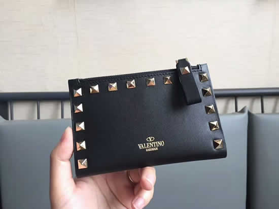 Fake New Valentino Black Short Wallet Card Holder 605