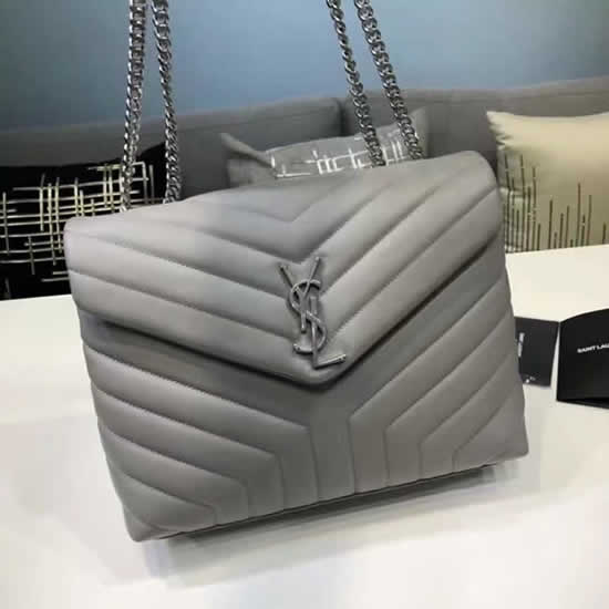 Knock Off Yves Saint Laurent Classic Flap Bag Leather Gray Crossbody Bag
