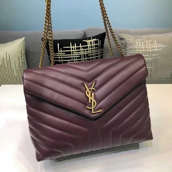 Knock Off Yves Saint Laurent Classic Red Wine Flap Bag Leather Crossbody Bag