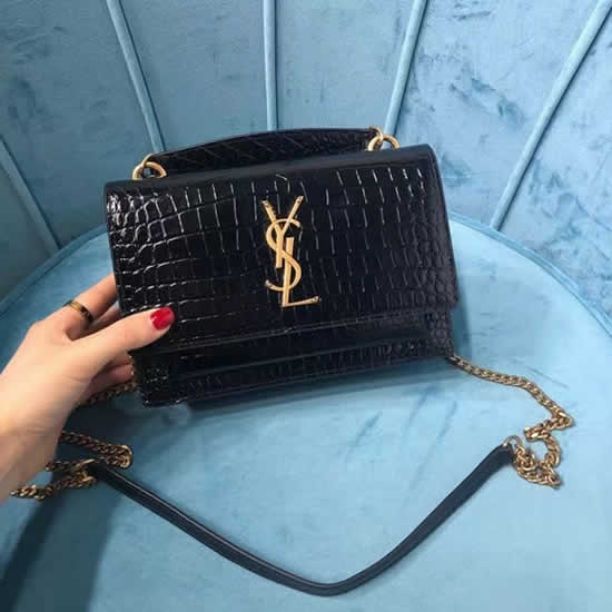 Fake New Yves Saint Laurent Nsunset Crocodile Print Golden Hardware Flap Tote Bags