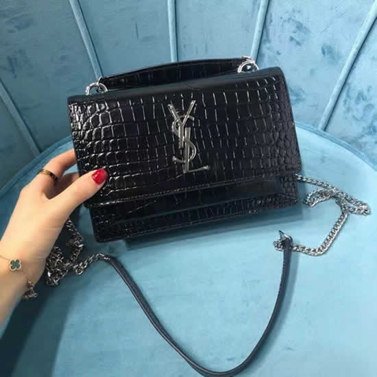 Fake New Yves Saint Laurent Nsunset Crocodile Print Silver Hardware Flap Tote Bags