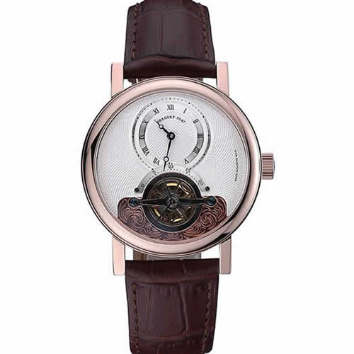 Breguet Classique Grande Complication Tourbillon Gold Case White Dial Brown Leather Strap 622209