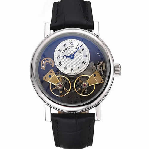 Breguet Duo Tourbillon Silver Case White Dial Black Leather Bracelet  622622
