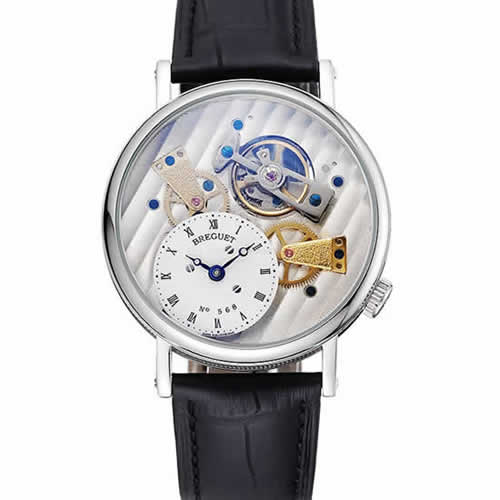 Breguet Tradition Grande Complication Silver Case Black Leather Bag 1454033