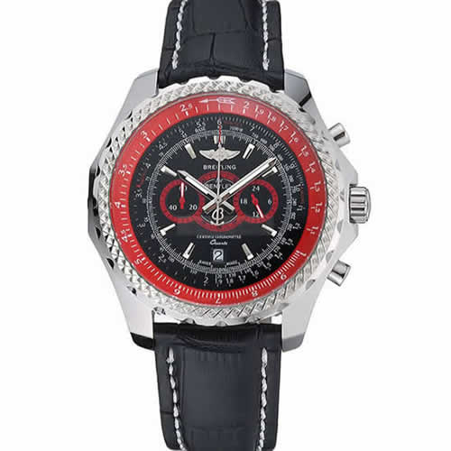 Breilting Bentley Supersports Black And Red Dial Black Leather Bracelet  622430