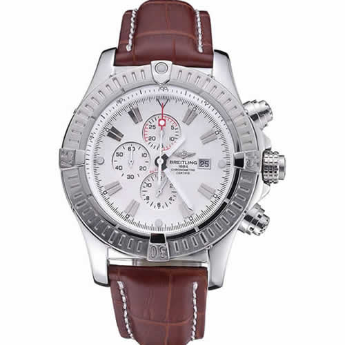 Breitling Chronomat Evolution White Dial Brown Leather Bracelet  622517