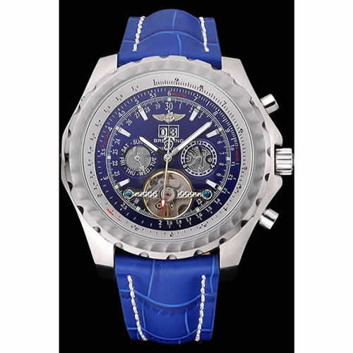 Breitling Bentley Mulliner Tourbillon Blue Dial Stainless Steel Case Blue Leather Strap  622726