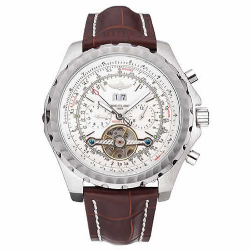 Breitling Bentley Mulliner Tourbillon White Dial Stainless Steel Case Brown Leather Strap  622729