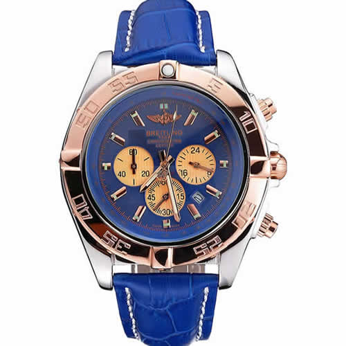 Breitling Chronomat Blue Dial Rose Gold Bezel And Subdials Stainless Steel Case Blue Leather Strap