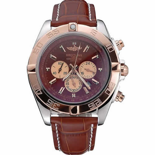 Breitling Chronomat Brown Dial Rose Gold Bezel And Subdials Stainless Steel Case Brown Leather Strap