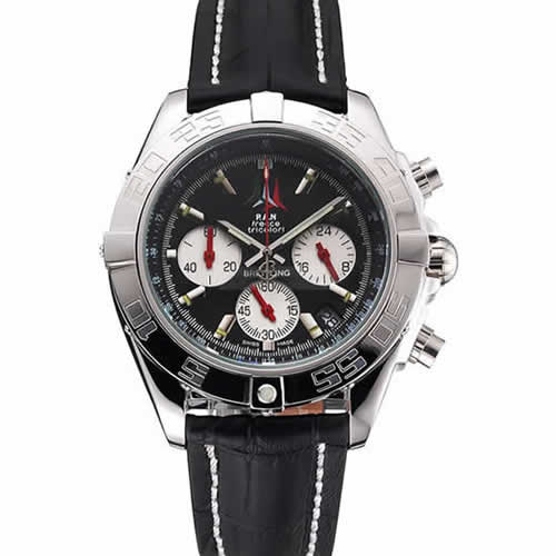 Breitling Chronomat Frecce Tricolori Black Dial Stainless Steel Case Black Leather Strap