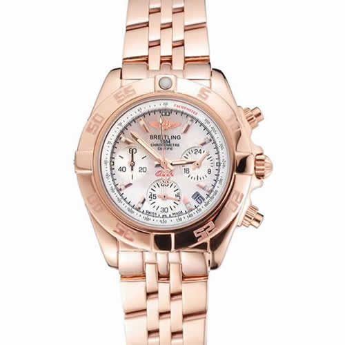 Breitling Chronomat Quartz Pearl Dial Rose Gold Case And Bracelet