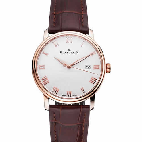 Blancpain Villeret Ultra Slim White Groved Dial Gold Numerals Rose Gold Case Brown Leather Strap