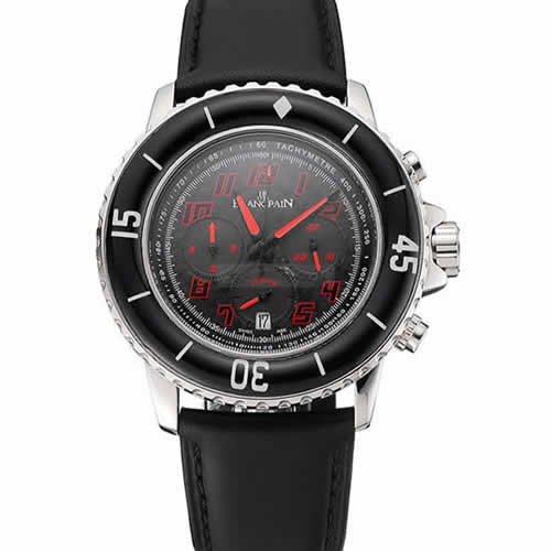 Blancpain Fifty Fathoms Speed Command Carbon Fiber Dial With Red Markings Stainless Steel Case Black Leather Strap 1453774