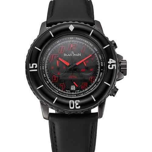 Blancpain Fifty Fathoms Speed Command Carbon Fiber Dial With Red Markings Black PVD Case Black Leather Strap 1453775