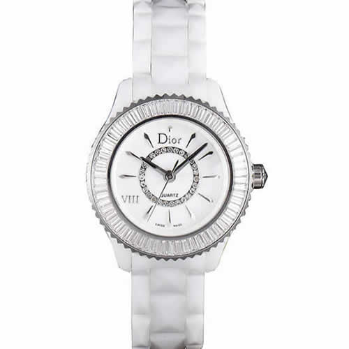 Dior VIII Baguette Cut White Diamonds with Diamond Encrusted Dial cd06 621359