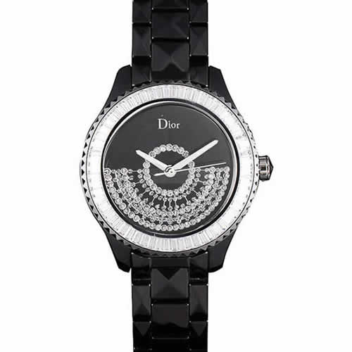 Dior VIII Baguette Cut White Diamonds with Diamond Encrusted Dial cd13 621366