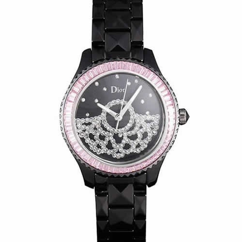 Dior VIII Baguette Cut Pink Diamonds with Diamond Encrusted Dial cd14 621367