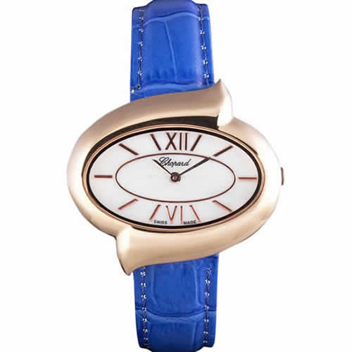 Chopard Luxury Gold Bezel with White Dial and Blue Leather Strap  621544