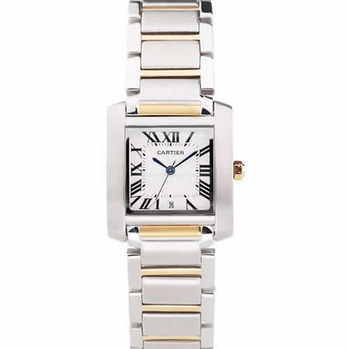 Cartier Tank Francaise 29mm White Dial Stainless Steel Case Two Tone Bracelet