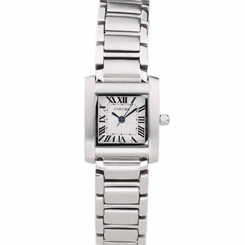 Cartier Tank Francaise 20mm White Dial Stainless Steel Case And Bracelet