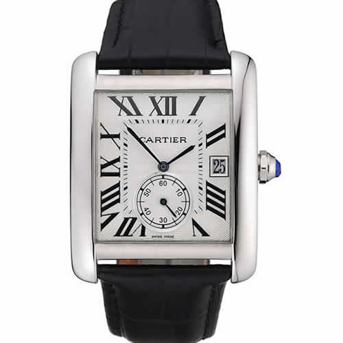 Cartier Tank MC White Dial Stainless Steel Case Black Leather Strap  622576