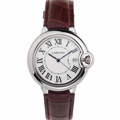 Cartier Ballon Bleu 42mm White Dial Stainless Steel Case Brown Leather Bracelet