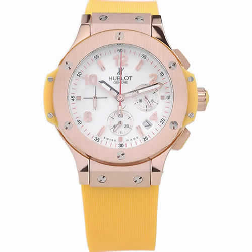 Hublot Big Bang Yellow Strap White Dial Watch 98068